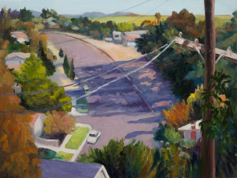 """View from Fairmead Park, Oil on Gessobord, 9x12"""""""