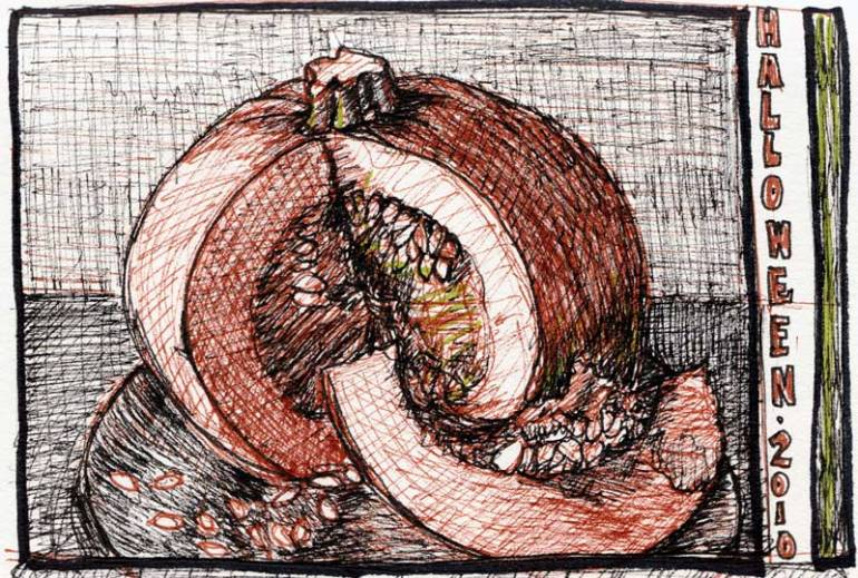 Halloween Pumpkin sketch, ink on paper