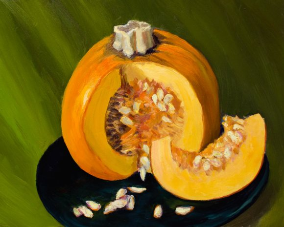 Painted Pumpkin Painted, oil on panel, 8x10""