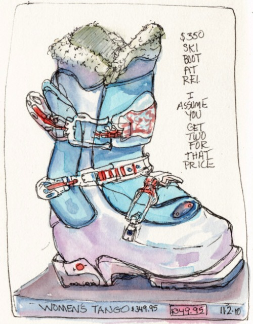 Tango Ski Boot, ink & watercolor