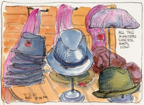 Gentlemen's Hats, ink & watercolor