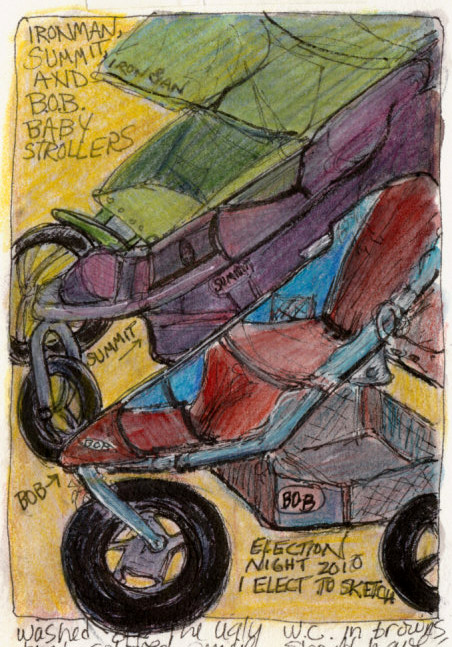 Hi-Tech Baby Buggies, Ink & colored pencil