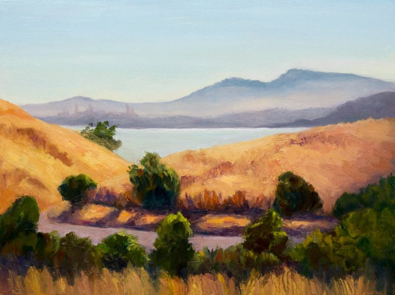 Hills Above Crockett, oil on board, 9x12""