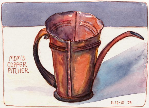 Mom's Copper Pitcher, ink & watercolor