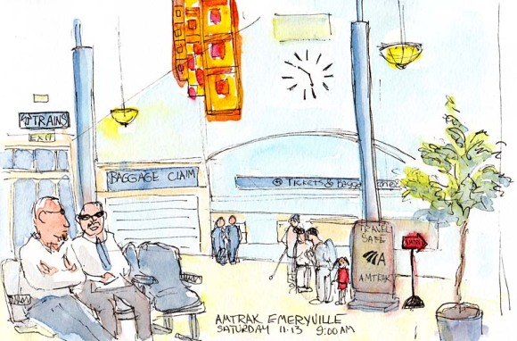 Emeryville Amtrak Station, ink & watercolor
