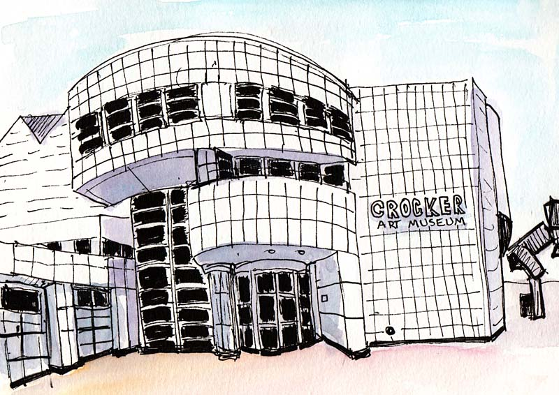 Crocker Art Museum New Building, ink & watercolor
