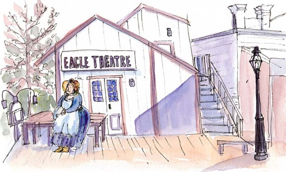 Eagle Theater, ink & watercolor