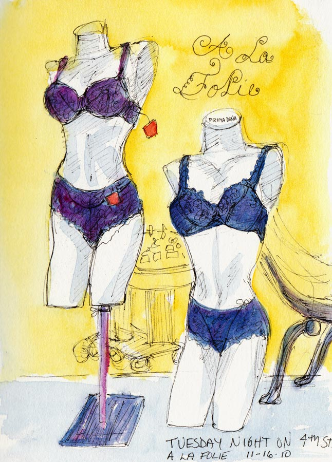 A La Folie, Undies on 4th Street, ink & watercolor