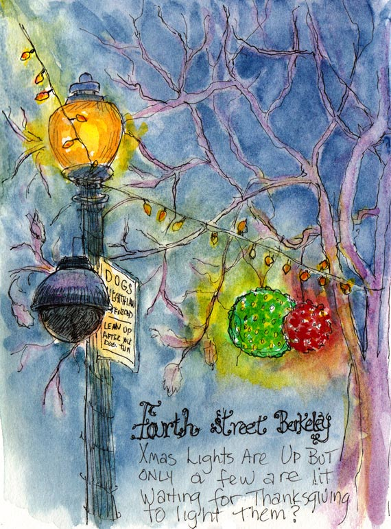 Fourth Street Holiday Lights, ink & watercolor