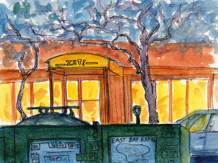 Zut Restaurant, 4th Street Berkeley, Ink & watercolor