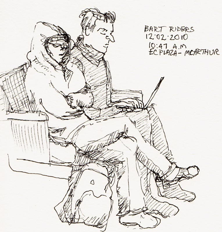 Bundled up and Busy on BART, ink sketch