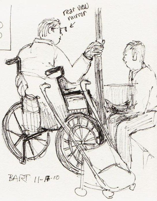 Wheelchair Rider with Rear View Mirror