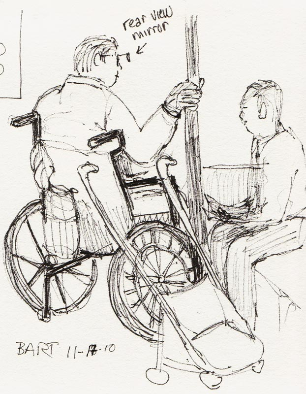 Wheelchair Rider with Rear View Mirror