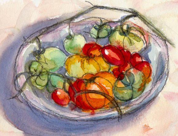 November tomatoes, watercolor sketch