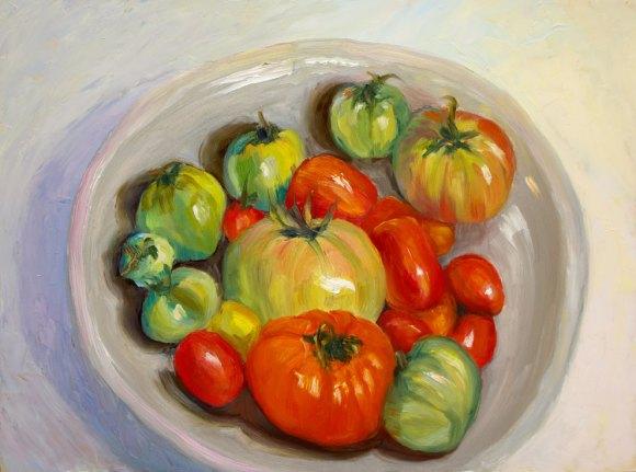 "November Tomatoes in Raku Bowl; oil painting on board, 9x12"""