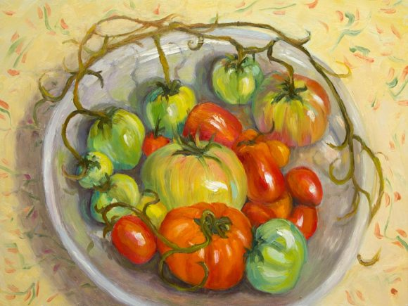 November Tomatoes Again, Oil on board, 9x12""
