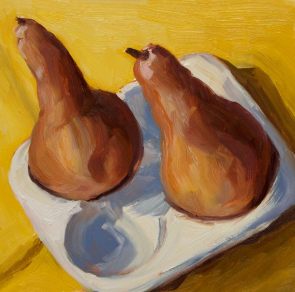 Striving Pears, Oil on Gessobord, 6x6""