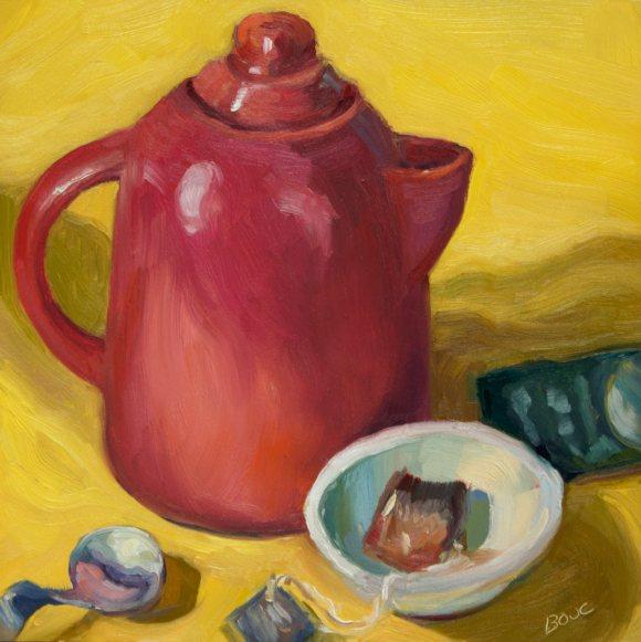 """Christmas Teapot, oil on Gessobord, 8x8"""""""