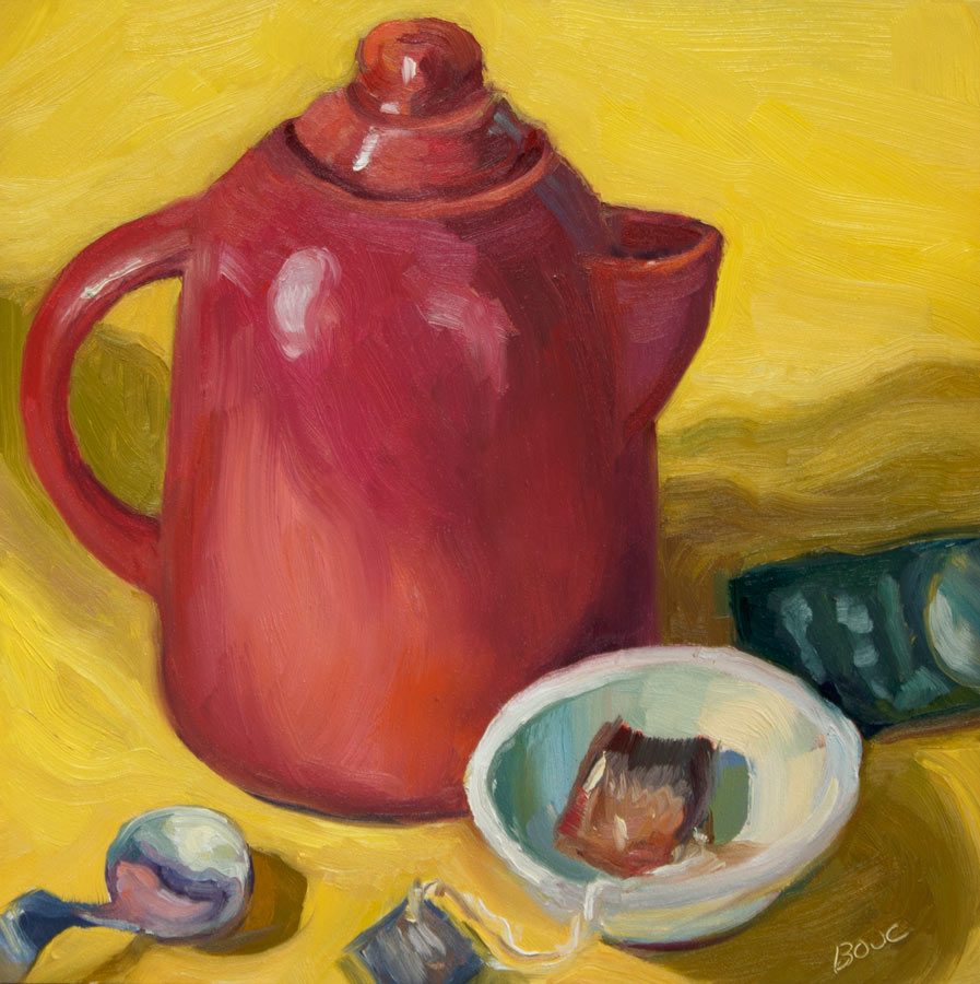 Christmas Teapot, oil on Gessobord, 8x8""