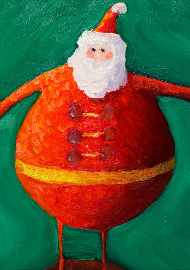 Santa version 6, oil on panel, 8x6