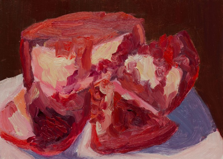 Pomegranate quick study, oil on board, 5x7""