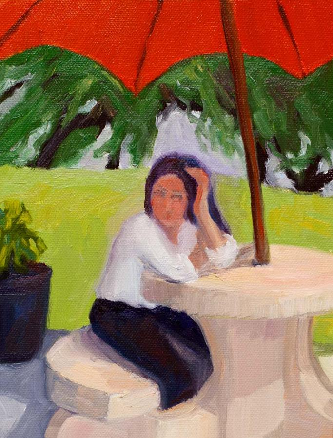 Sit Stay Cafe Girl, oil on panel, 10x8""