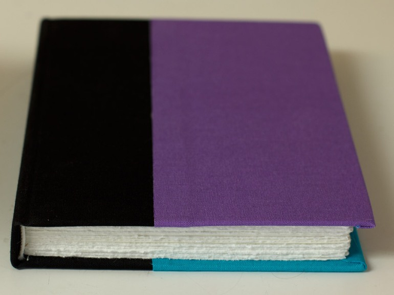 New Journal: Scrappy, covered with 3 pieces of bookcloth