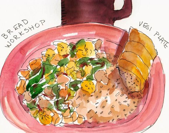 Grilled Veges & Brown Rice at the Bread Workshop, ink & watercolor in Moleskin