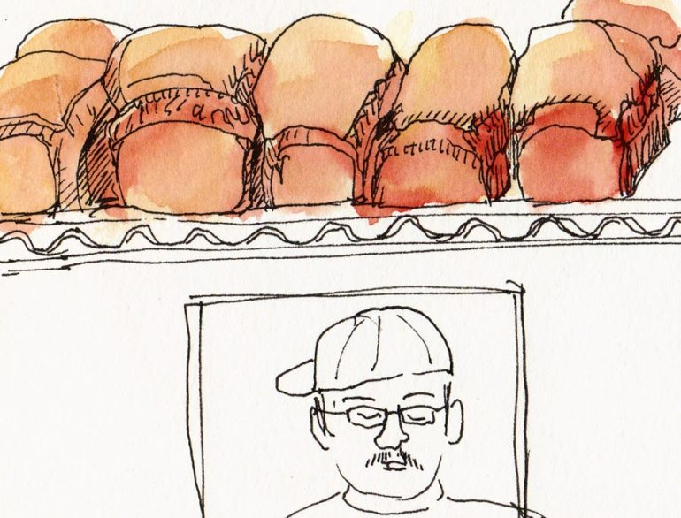 Bread and Baker at Bread Workshop, ink & watercolor