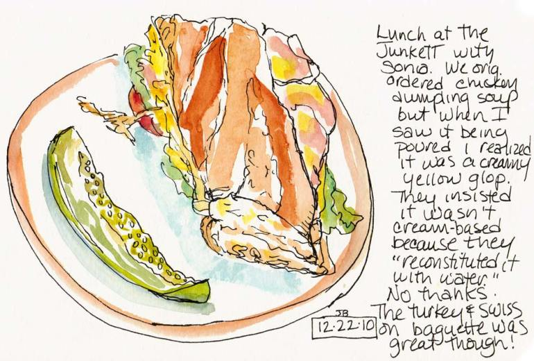 Turkey & Swiss at The Junket, Lamy Safari, Carbon Platinum Ink & watercolor in Moleskine Watercolor