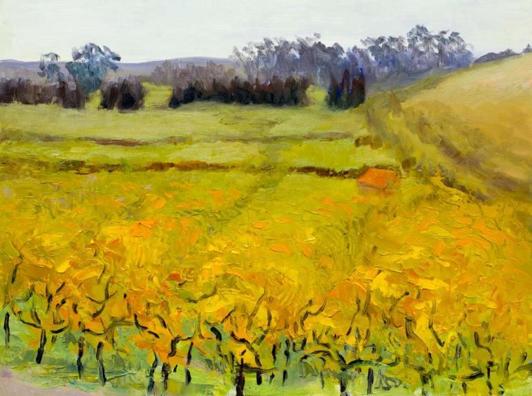 "Viansa Vineyard, 11/2010-1/2011, Oil painting, 9x12"""