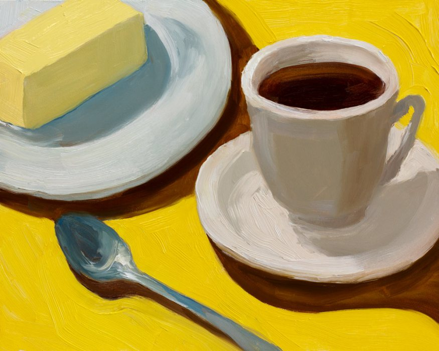 Tea and Butter, Surface Quality Study #2, oil painting on panel, 8x10""