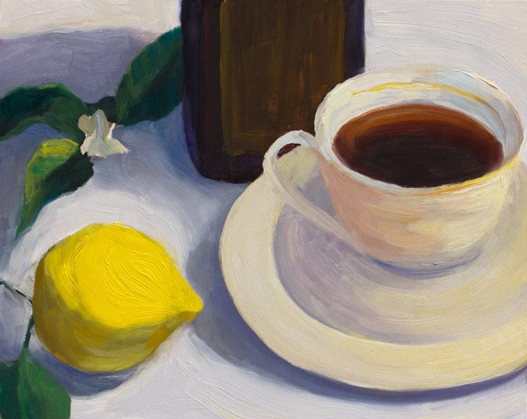 Tea and Lemon, Surface Quality Study #1, oil painting on panel 8x10""