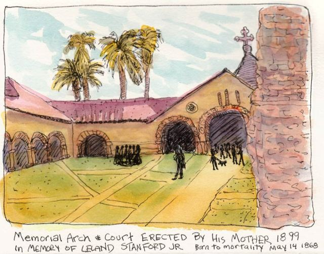 Stanford Memorial Arch, ink & watercolor