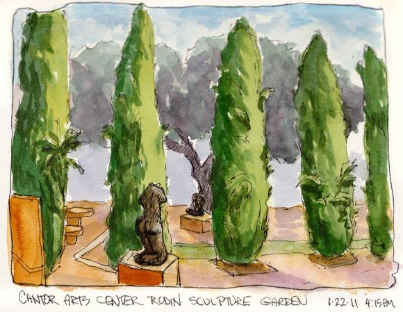Rodin Sculpture Garden Trees, Stanford, ink & watercolor