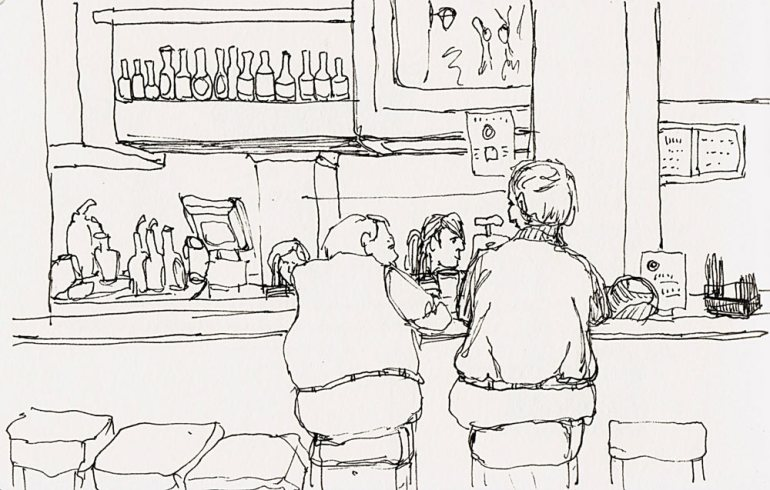 Muffin-top guys at the bar