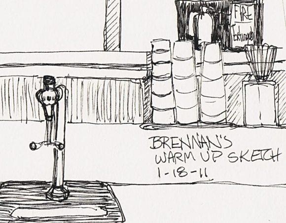 Warm-up sketch at Brennan's