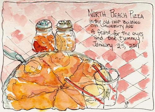 North Beach Pizza, ink & watercolor