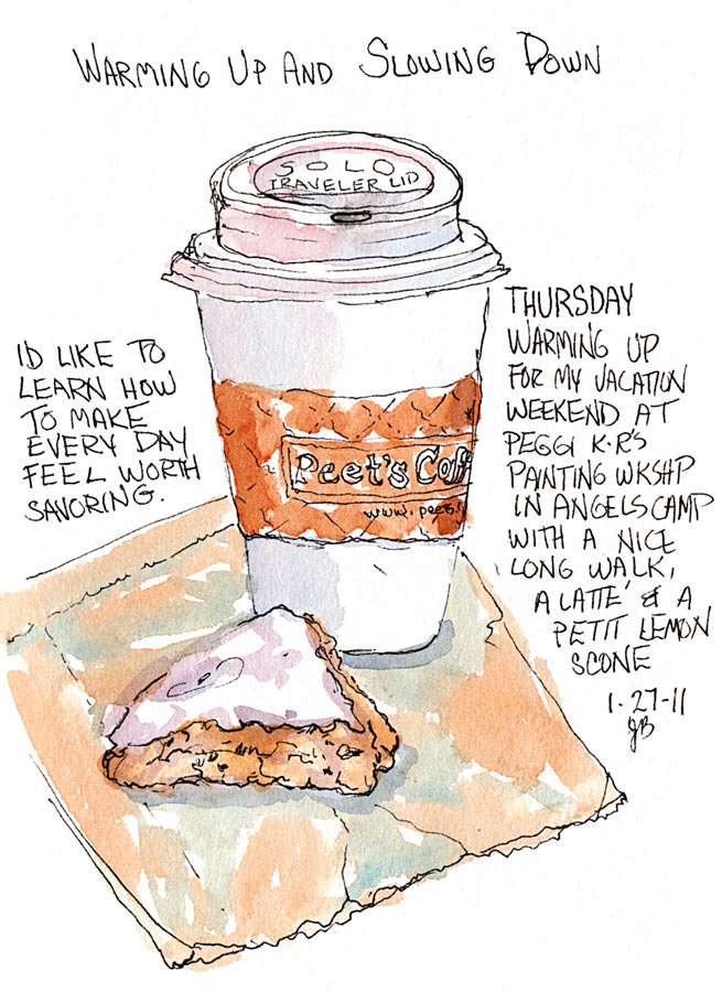 Slowing Down With a Latte and Mini-Scone at Peets