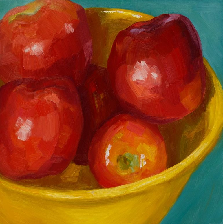 Super Bowl of Apples, oil on panel, 8x8""