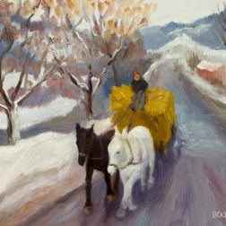 Romanian Winter Hayride, oil painting on panel, 9x12""