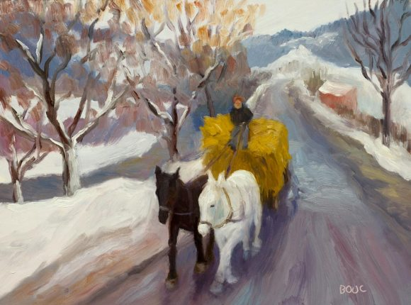 "Romanian Winter Hayride, oil painting on panel, 9x12"""