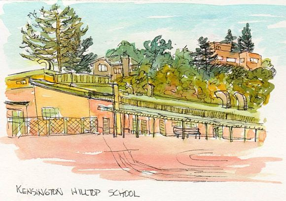 Kensington Hilltop School, ink & watercolor