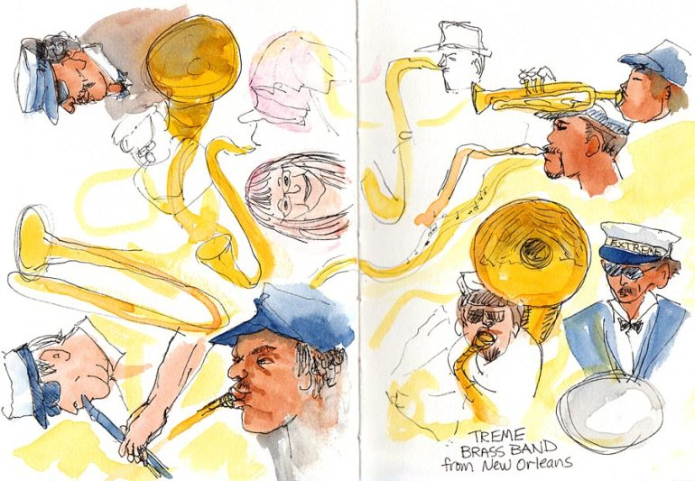 Treme Brass Band sketches, ink & watercolor