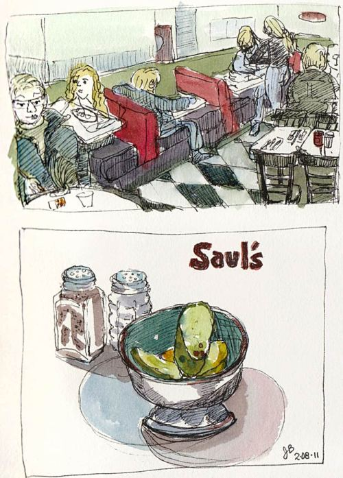 Saul's Deli & their famous pickles, ink & watercolor