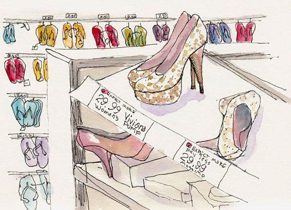 Ladies Shoes, Target, Ink & watercolor