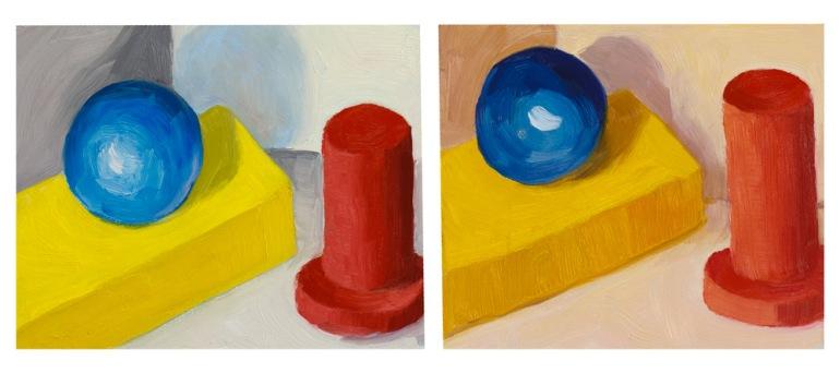 Cool light, warm light with blocks, oil study