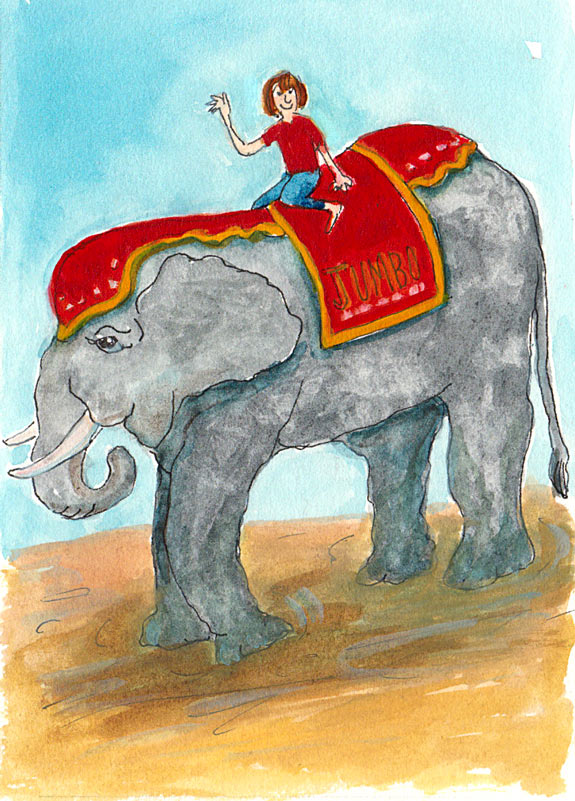 Elephant & Rider, Ink & Gouache