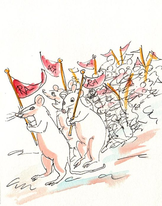Rats Rally the Herd, Ink & Gouache