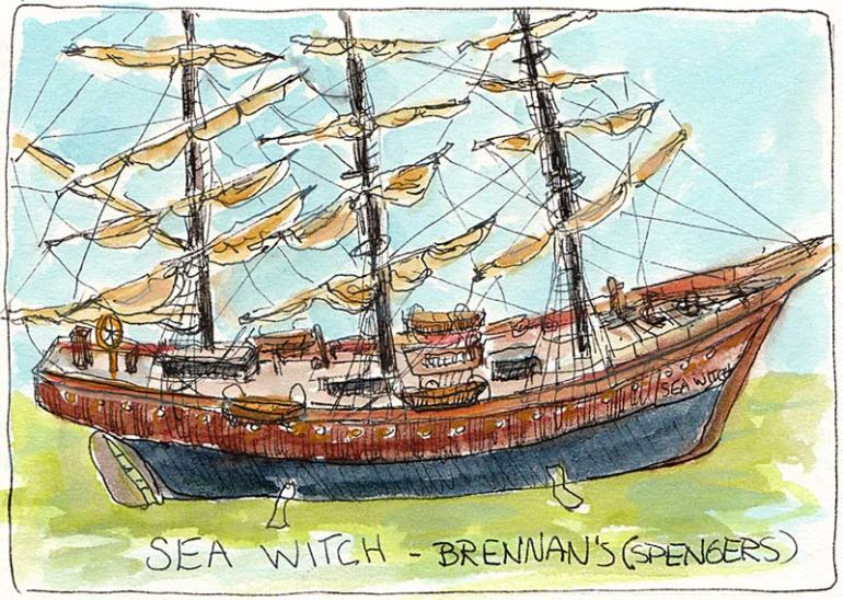 Sea Witch Ship Model, ink & watercolor